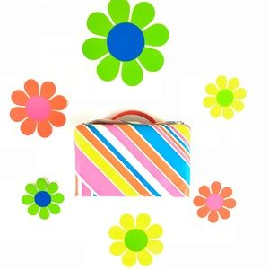 Vintage mod rainbow striped handbag vinyl lunchbox